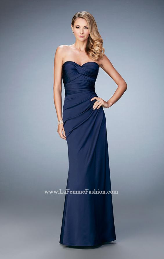Picture of: Satin Evening Gown with Cropped Lace Jacket in Blue, Style: 21776, Detail Picture 3