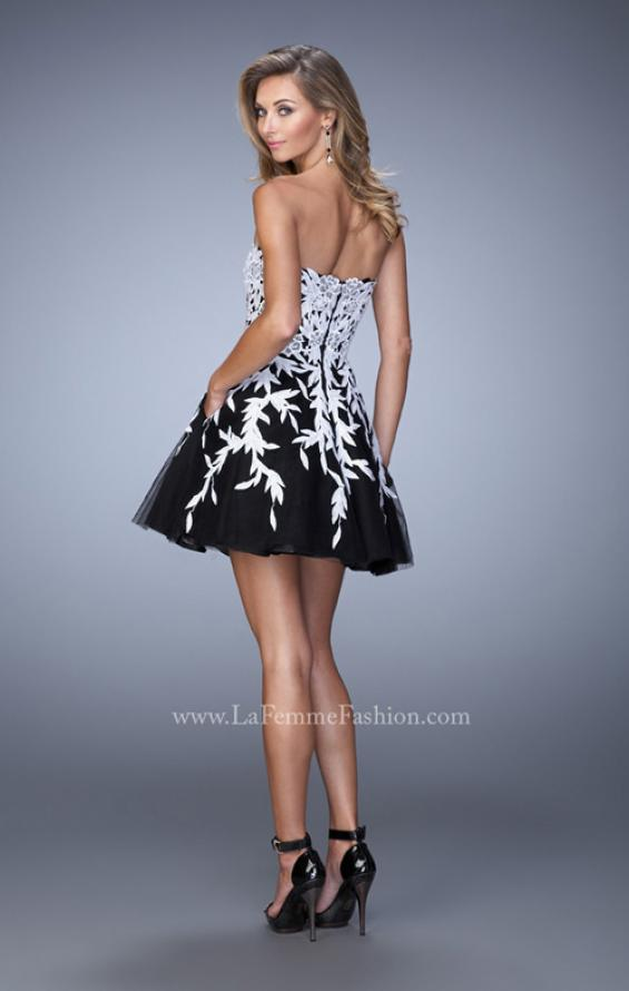 Picture of: Short Tulle Cocktail Dress with Lace Appliques in Black, Style: 21798, Back Picture