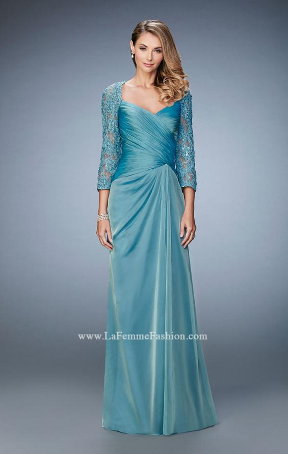 Picture of: Elegant Gown with Lace and Jewel Embellished Sleeves in Blue, Style: 21805, Main Picture