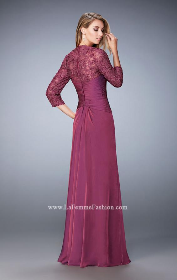 Picture of: Elegant Gown with Lace and Jewel Embellished Sleeves in Pink, Style: 21805, Back Picture