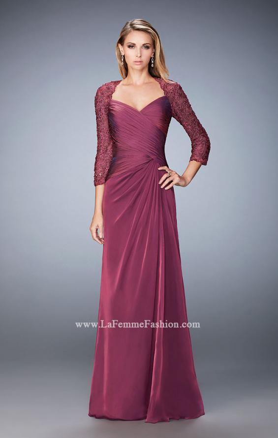 Picture of: Elegant Gown with Lace and Jewel Embellished Sleeves in Pink, Style: 21805, Detail Picture 1