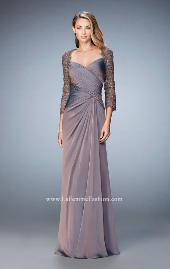 Picture of: Elegant Gown with Lace and Jewel Embellished Sleeves in Brown, Style: 21805, Detail Picture 2