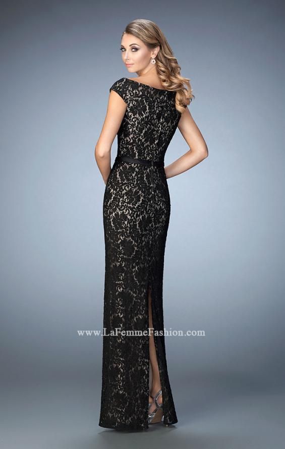 Picture of: Lace Evening Dress with Belt and Off the Shoulder Sleeves, Style: 21812, Back Picture