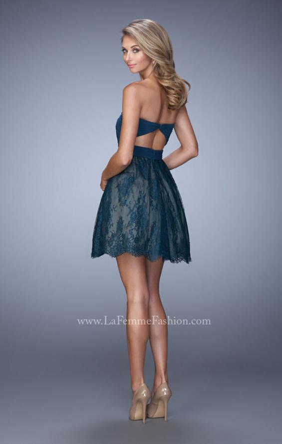 Picture of: Bold Cocktail Dress with Lace Skirt and Keyhole Back in Blue, Style: 21816, Back Picture