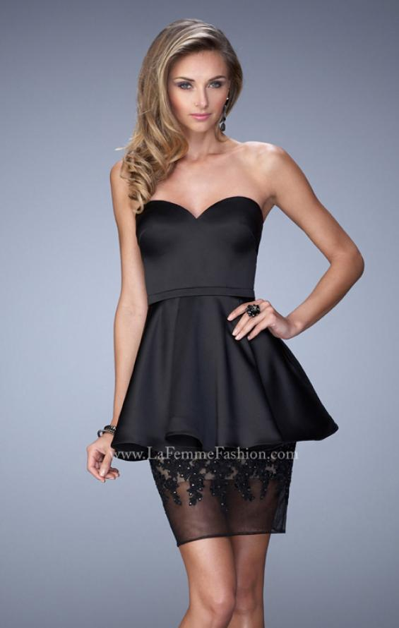 Picture of: Satin Short Dress with Peplum Skirt and Rhinestones in Black, Style: 21817, Main Picture