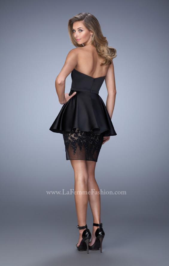 Picture of: Satin Short Dress with Peplum Skirt and Rhinestones in Black, Style: 21817, Back Picture