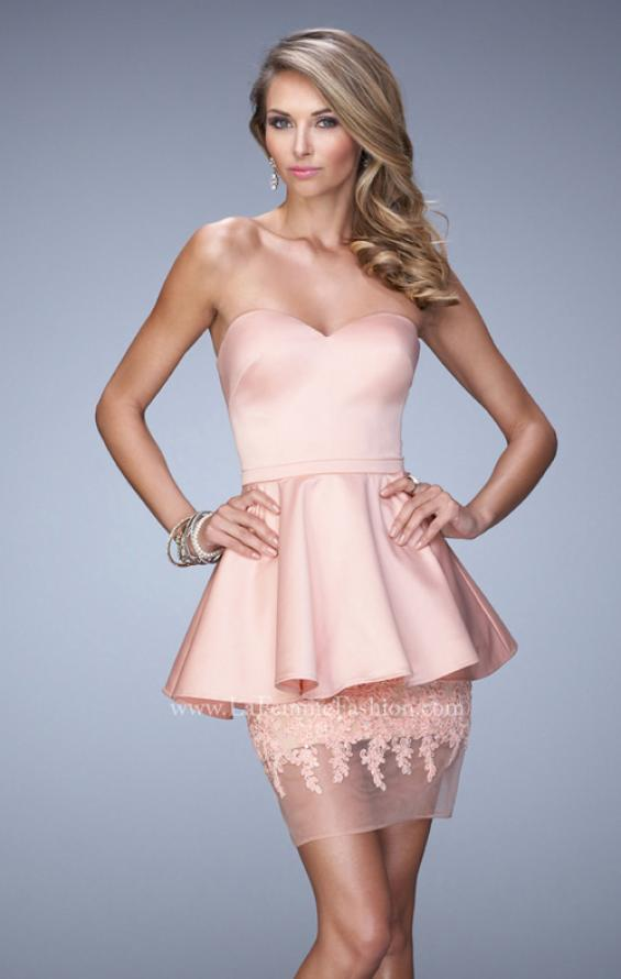 Picture of: Satin Short Dress with Peplum Skirt and Rhinestones in Pink, Style: 21817, Detail Picture 1