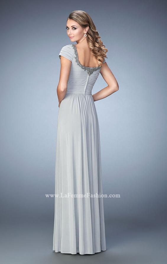Picture of: Scoop Neck Gown with Cap Sleeves and Beading, Style: 21826, Back Picture