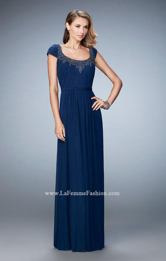 Picture of: Scoop Neck Gown with Cap Sleeves and Beading, Style: 21826, Detail Picture 1