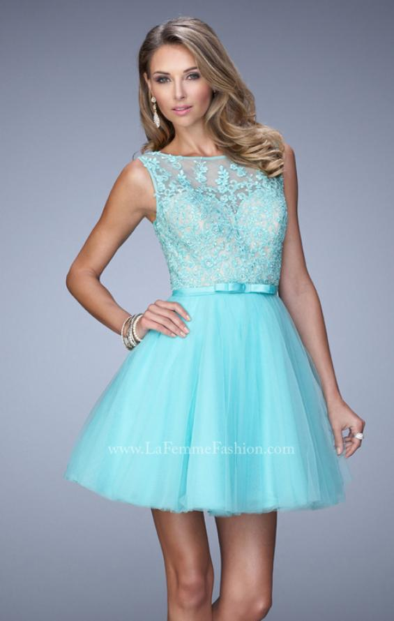 Picture of: Short Tulle Dress with High Neckline and Sheer Back, Style: 21835, Main Picture