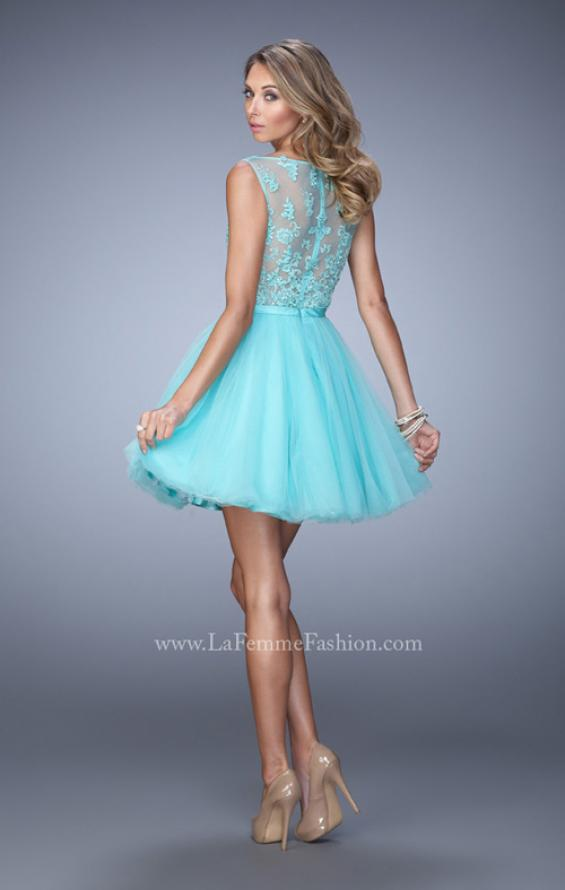 Picture of: Short Tulle Dress with High Neckline and Sheer Back, Style: 21835, Back Picture