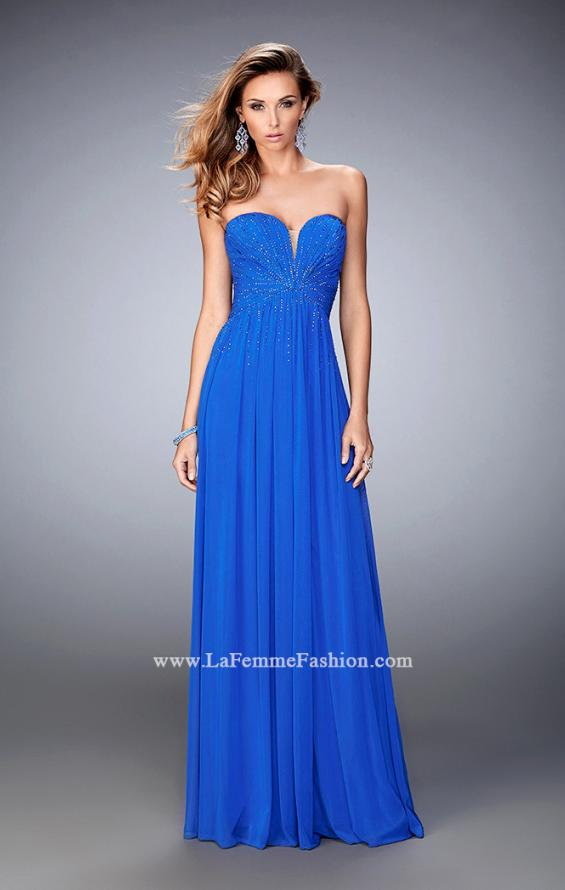 Picture of: Sweetheart Neck Net Gown with Cascading Rhinestones in Blue, Style: 21836, Main Picture