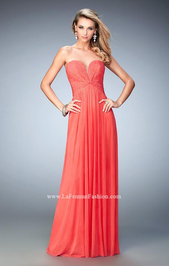 Picture of: Sweetheart Neck Net Gown with Cascading Rhinestones in Orange, Style: 21836, Detail Picture 1