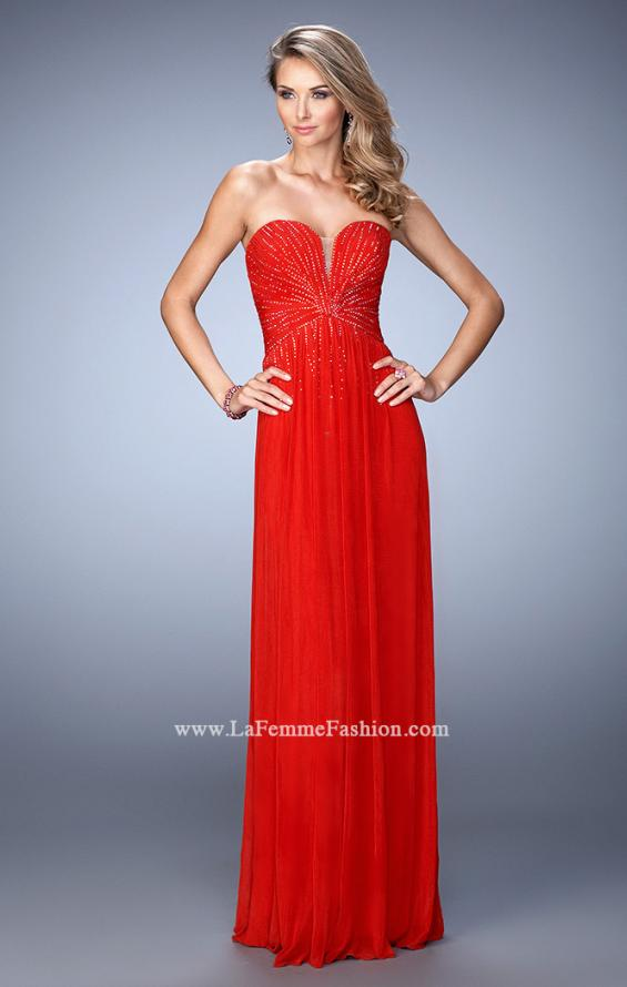Picture of: Sweetheart Neck Net Gown with Cascading Rhinestones in Red, Style: 21836, Detail Picture 3