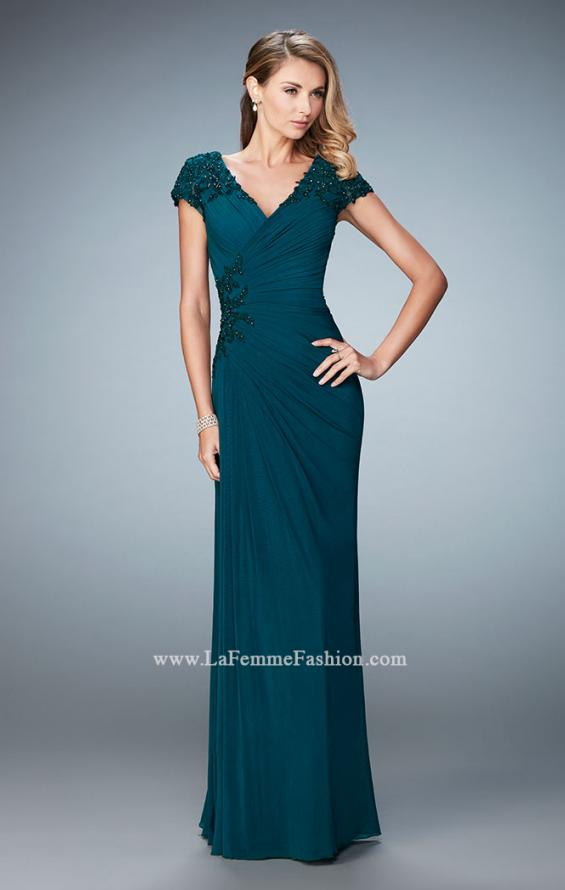 Picture of: Evening Gown with Short Embellished Sleeves and Stones, Style: 21860, Main Picture