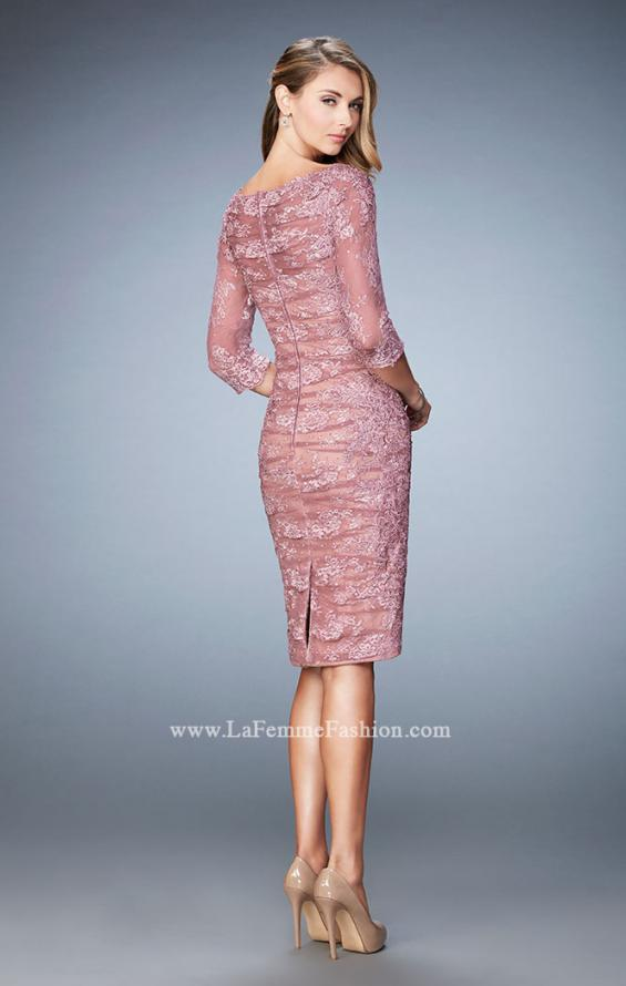 Picture of: 3/4 Sleeve Lace Cocktail Dress with Ruching, Style: 21861, Back Picture