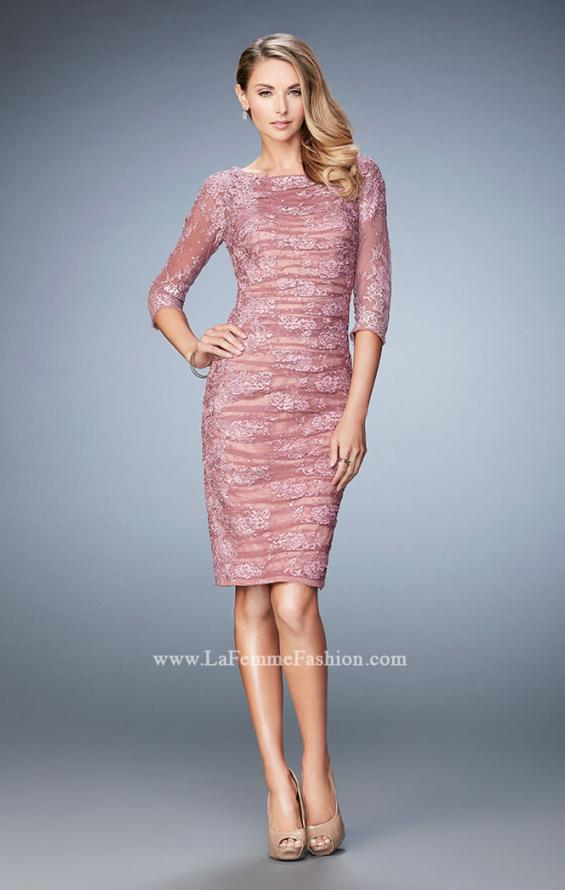 Picture of: 3/4 Sleeve Lace Cocktail Dress with Ruching, Style: 21861, Detail Picture 1