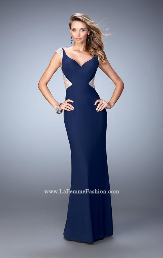Picture of: Net Jersey Dress with Plunging Sheer Back and Rhinestones in Blue, Style: 21864, Main Picture