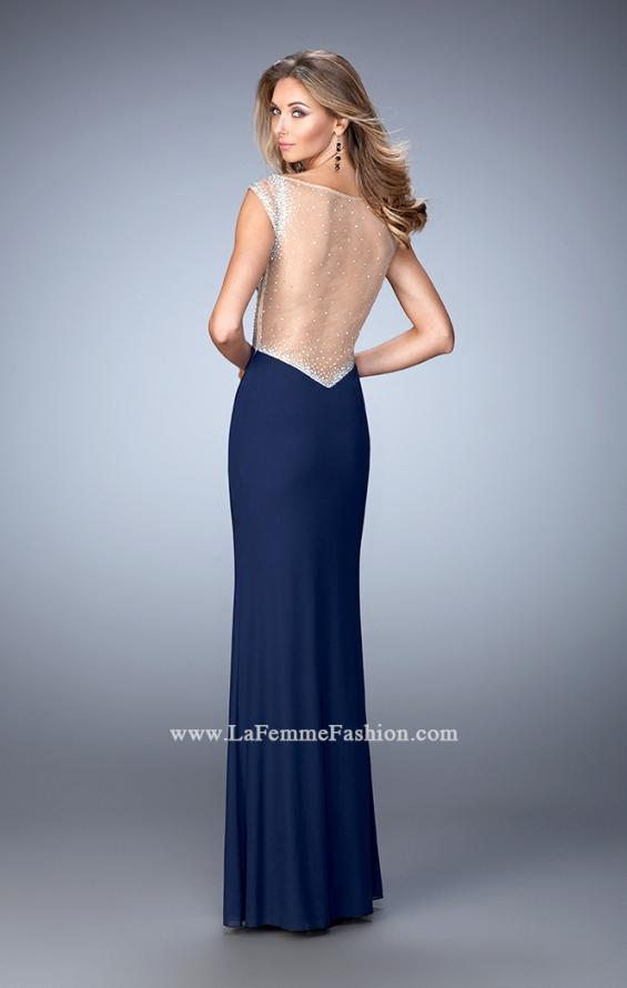Picture of: Net Jersey Dress with Plunging Sheer Back and Rhinestones in Blue, Style: 21864, Back Picture