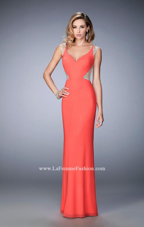 Picture of: Net Jersey Dress with Plunging Sheer Back and Rhinestones in Orange, Style: 21864, Detail Picture 1