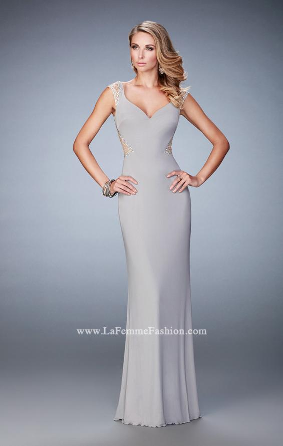 Picture of: Net Jersey Dress with Plunging Sheer Back and Rhinestones in Silver, Style: 21864, Detail Picture 2