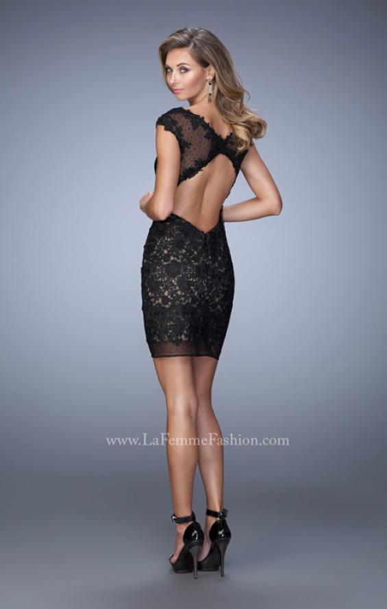 Picture of: Scoop Neck Lace Dress with Stones and Open Back, Style: 21872, Back Picture