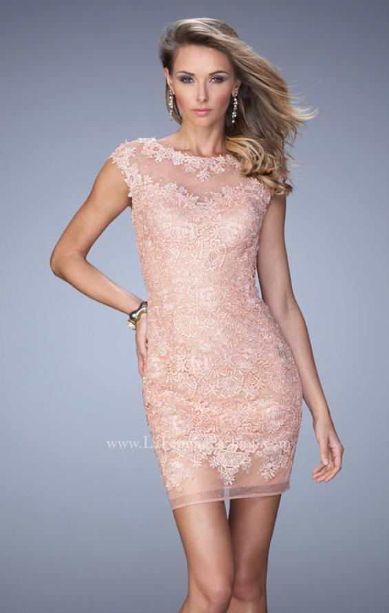 Picture of: Scoop Neck Lace Dress with Stones and Open Back, Style: 21872, Detail Picture 1