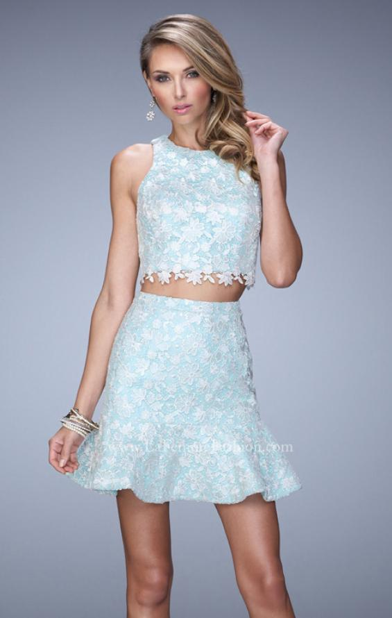 Picture of: Flared Skirt Two Piece Dress with Delicate Lace Trim in Blue, Style: 21873, Main Picture