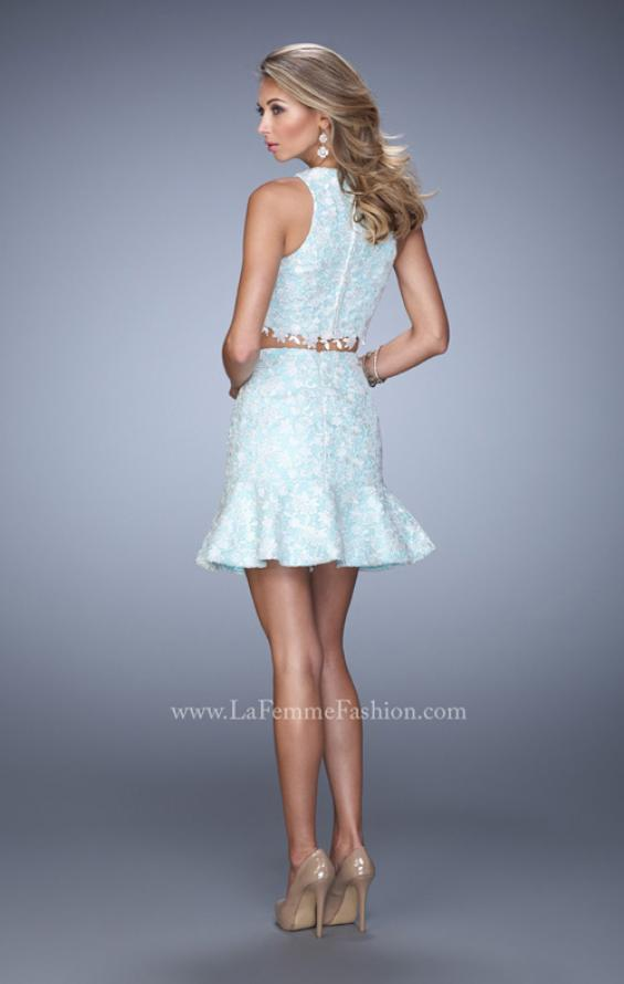 Picture of: Flared Skirt Two Piece Dress with Delicate Lace Trim in Blue, Style: 21873, Back Picture
