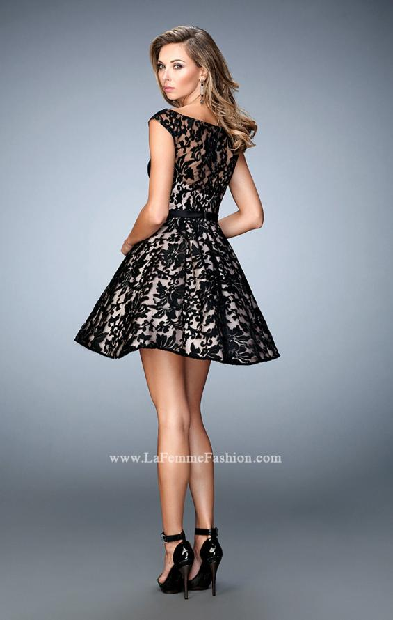 Picture of: Short Lace Gown with Boat Neckline and Bow Waistband, Style: 21876, Back Picture