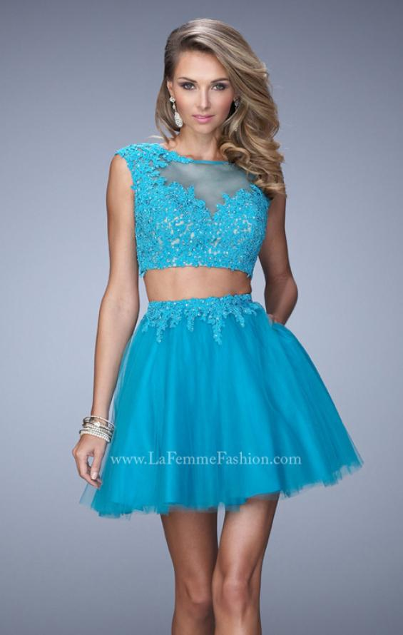 Picture of: Flirty Two Piece Dress with Sheer Overlay and Pockets, Style: 21878, Main Picture