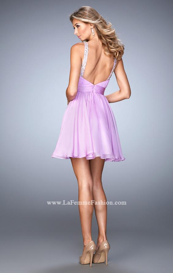 Picture of: Short Chiffon Gown with Gathering and Beaded Straps in Purple, Style: 21885, Back Picture