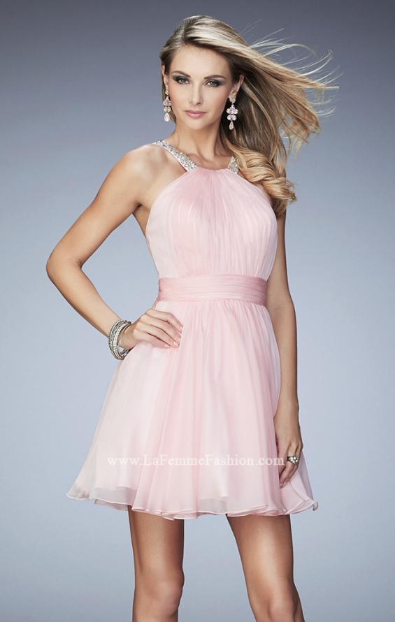 Picture of: Short Chiffon Gown with Gathering and Beaded Straps in Pink, Style: 21885, Detail Picture 1
