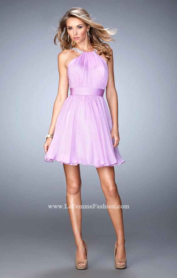 Picture of: Short Chiffon Gown with Gathering and Beaded Straps in Purple, Style: 21885, Detail Picture 2