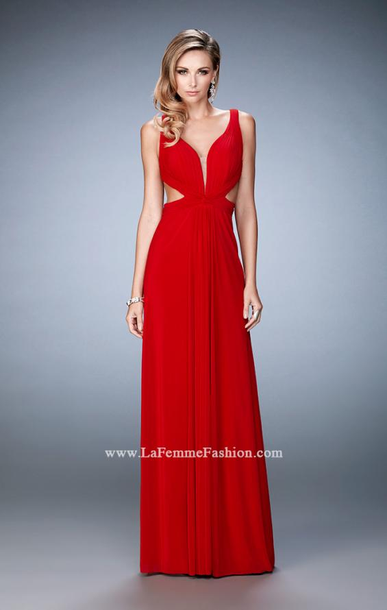 Picture of: Strappy Back Prom Dress with Cut Outs and Gathering, Style: 21889, Detail Picture 1