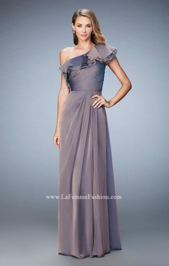 Picture of: One Shoulder Ruffle Evening Gown with A-line Skirt, Style: 21893, Detail Picture 2