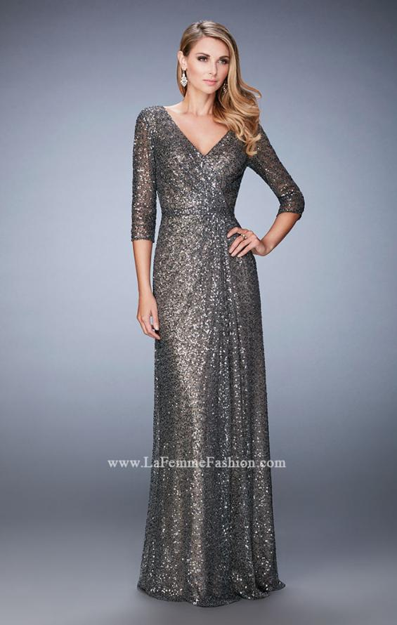 Picture of: Sequin Evening Gown with 3/4 Length Sleeves, Style: 21900, Main Picture