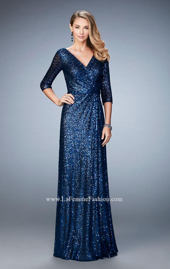 Picture of: Sequin Evening Gown with 3/4 Length Sleeves, Style: 21900, Detail Picture 1