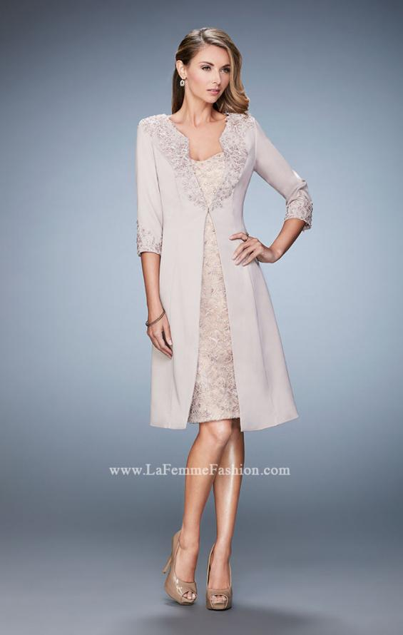 Picture of: Knee Length Jeweled Dress with Knee Length Coat in Nude, Style: 21903, Main Picture