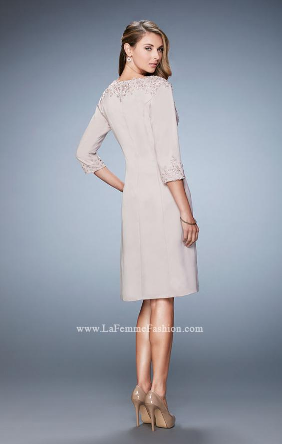 Picture of: Knee Length Jeweled Dress with Knee Length Coat in Nude, Style: 21903, Back Picture