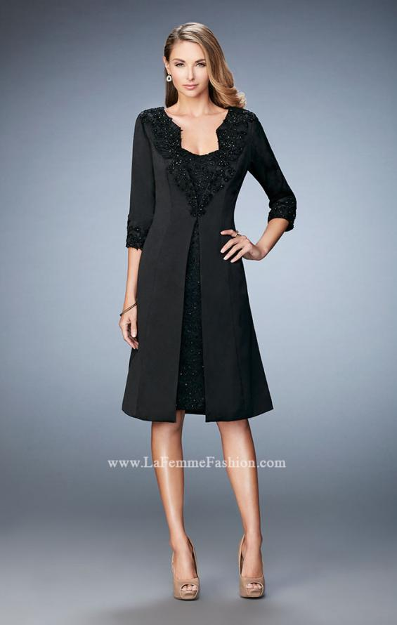 Picture of: Knee Length Jeweled Dress with Knee Length Coat in Black, Style: 21903, Detail Picture 2