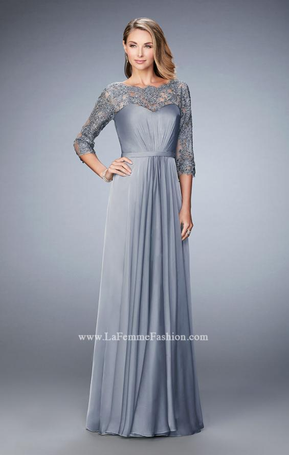 Picture of: Jewel and Lace Embroidered 3/4 Sleeve Evening Gown in Silver, Style: 21915, Main Picture