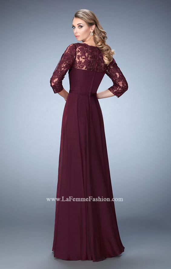 Picture of: Jewel and Lace Embroidered 3/4 Sleeve Evening Gown in Red, Style: 21915, Back Picture