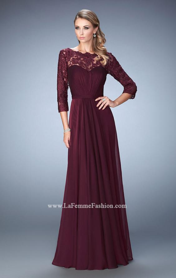 Picture of: Jewel and Lace Embroidered 3/4 Sleeve Evening Gown in Red, Style: 21915, Detail Picture 1
