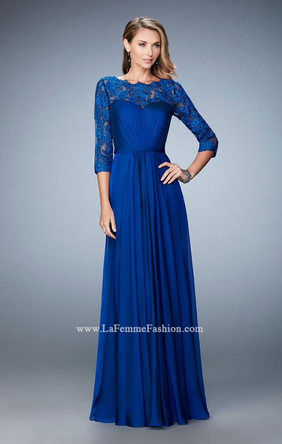 Picture of: Jewel and Lace Embroidered 3/4 Sleeve Evening Gown in Blue, Style: 21915, Detail Picture 2