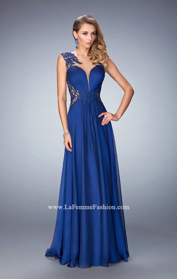 Picture of: Chiffon Prom Dress with Illusion Neckline and Rhinestones, Style: 21921, Back Picture