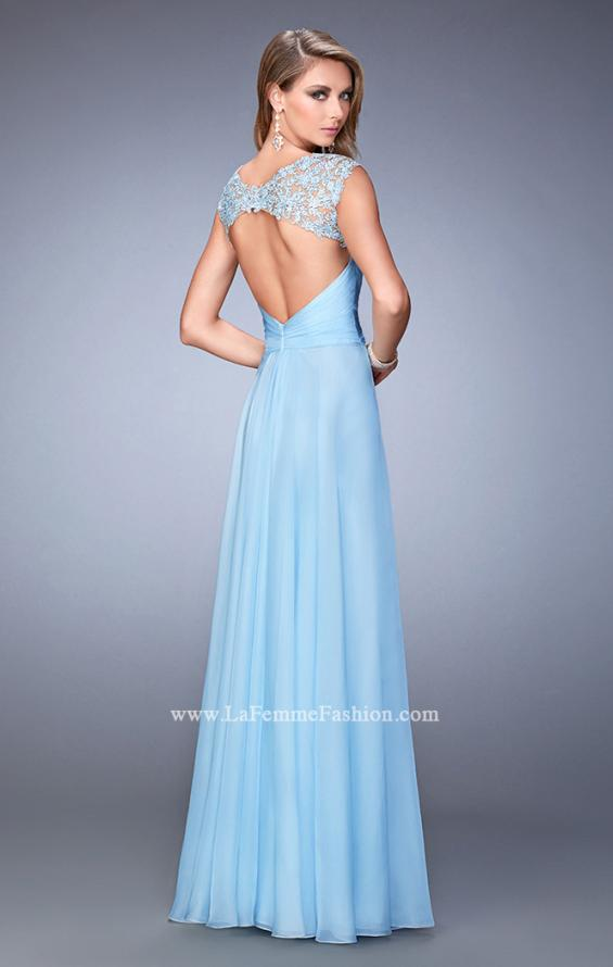Picture of: V Neckline Chiffon Dress with Gathered Bodice and Skirt in Blue, Style: 21925, Back Picture