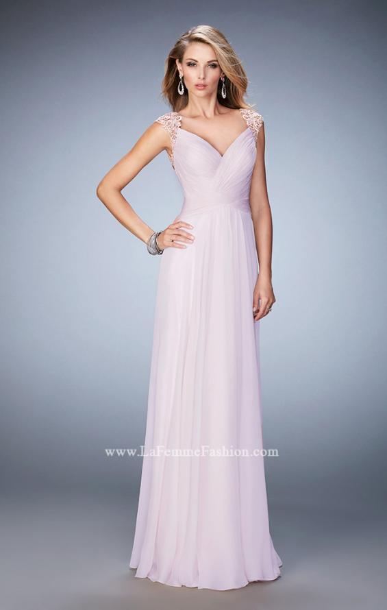 Picture of: V Neckline Chiffon Dress with Gathered Bodice and Skirt in Pink, Style: 21925, Detail Picture 1