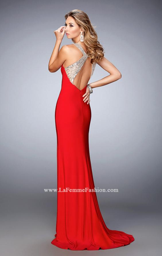 Picture of: Jersey Prom Dress with Sweetheart Neckline and Train in Red, Style: 21929, Back Picture