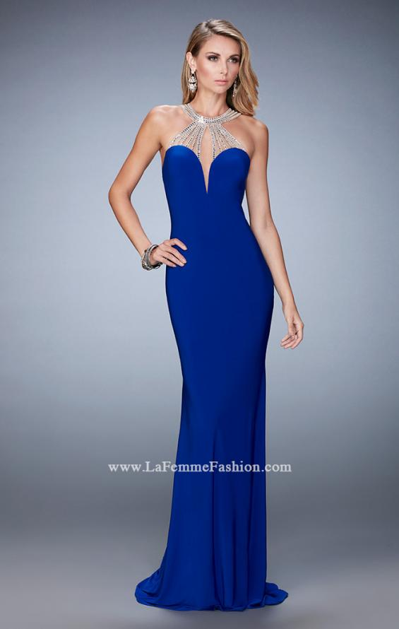 Picture of: Jersey Prom Dress with Sweetheart Neckline and Train in Blue, Style: 21929, Detail Picture 1